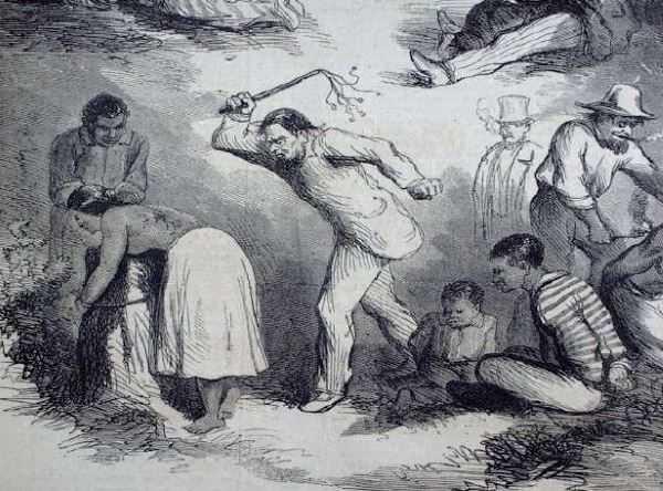 Esclavo negro en un estado infantil impotente